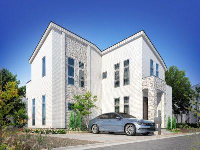 外観, 駐車場2, 2階建て, 樹木, 東京, 戸建, 昼景, 片流れ屋根, 1棟, 車1, 花