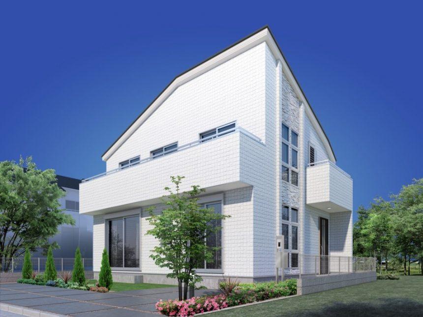建築オーダーパース。昭島市の戸建・外観。