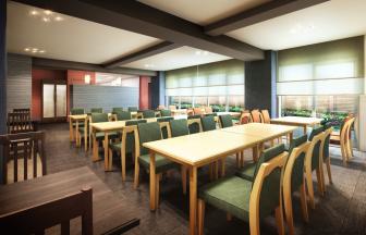 建築オーダーパース。学生寮・食堂。