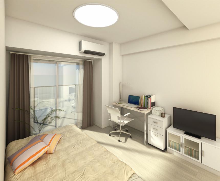 建築オーダーパース。学生寮・居室。