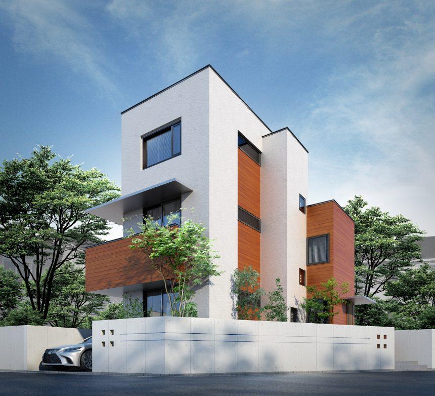 建築オーダーパース。世田谷区の戸建・外観。