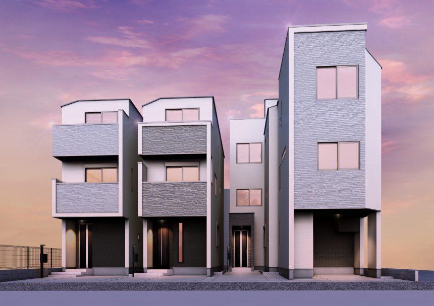 建築パース。横浜市の戸建・外観。