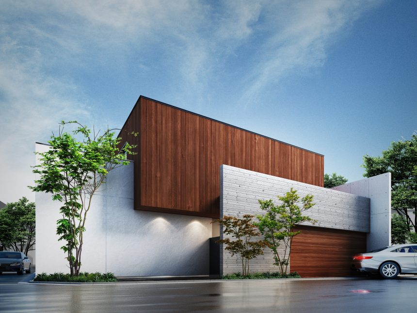 建築オーダーパース。目黒区の戸建・外観。