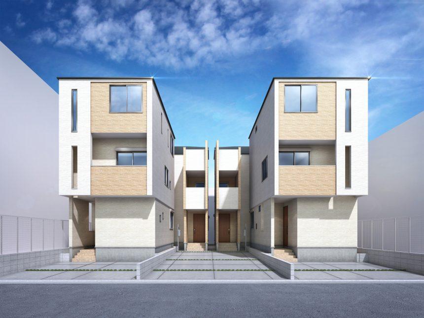 建築パース。名古屋市の戸建・外観。
