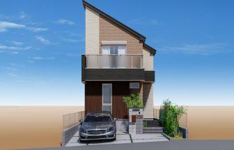 建築パース。杉並区の戸建・外観。