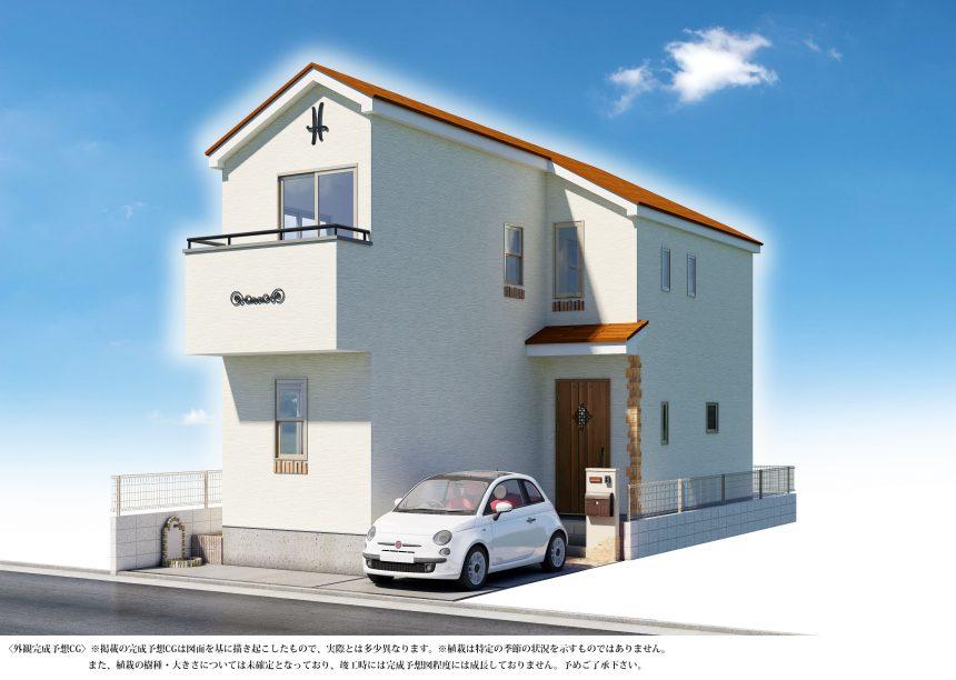 建築パース。浦安市の戸建・外観。