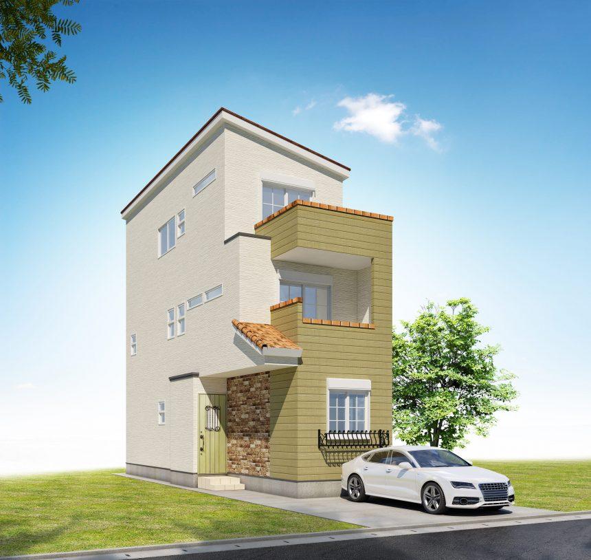 建築パース。愛知県の戸建・外観。