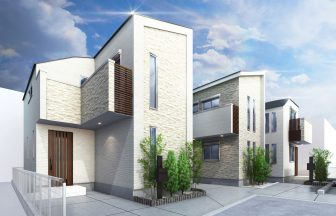 建築パース。中野区の戸建・外観。