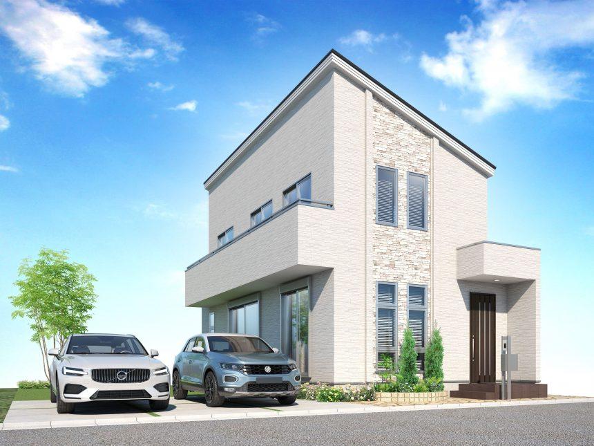 建築パース。羽村市の戸建・外観。