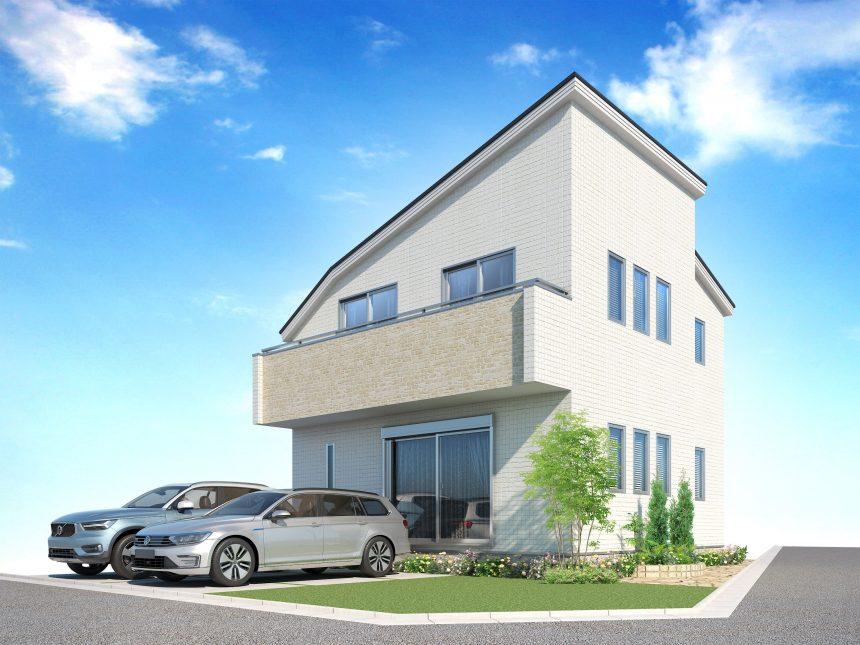 建築パース。福生市の戸建・外観。