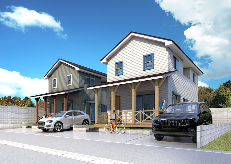 建築オーダーパース。福津市の戸建・外観。