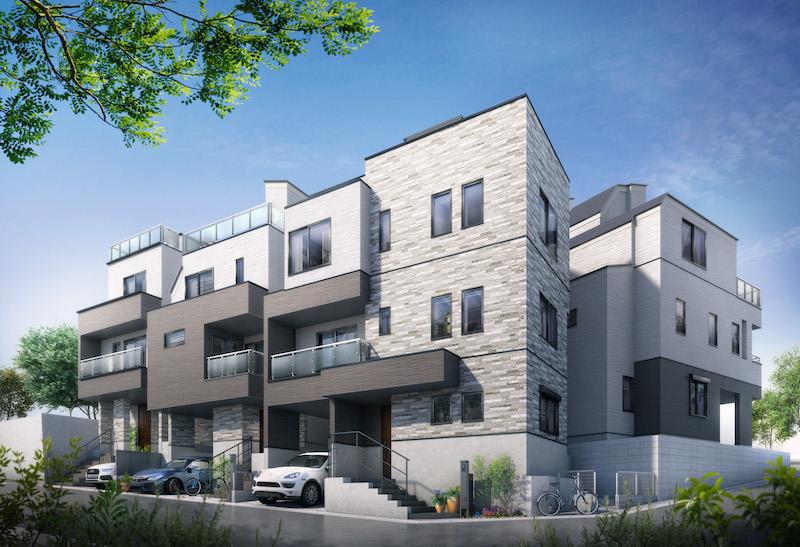 建築オーダーパースのご用命はシーブリッジへ!住宅パース制作事例をご紹介。大田区の戸建・外観。ルーフバルコニー付きの多棟現場。素材の違う様々な外壁の描写を工夫しました。東京都 大田区の戸建物件です。