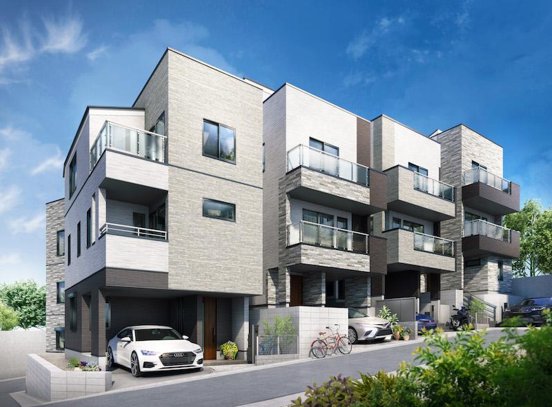 建築オーダーパース。大田区の戸建・外観。