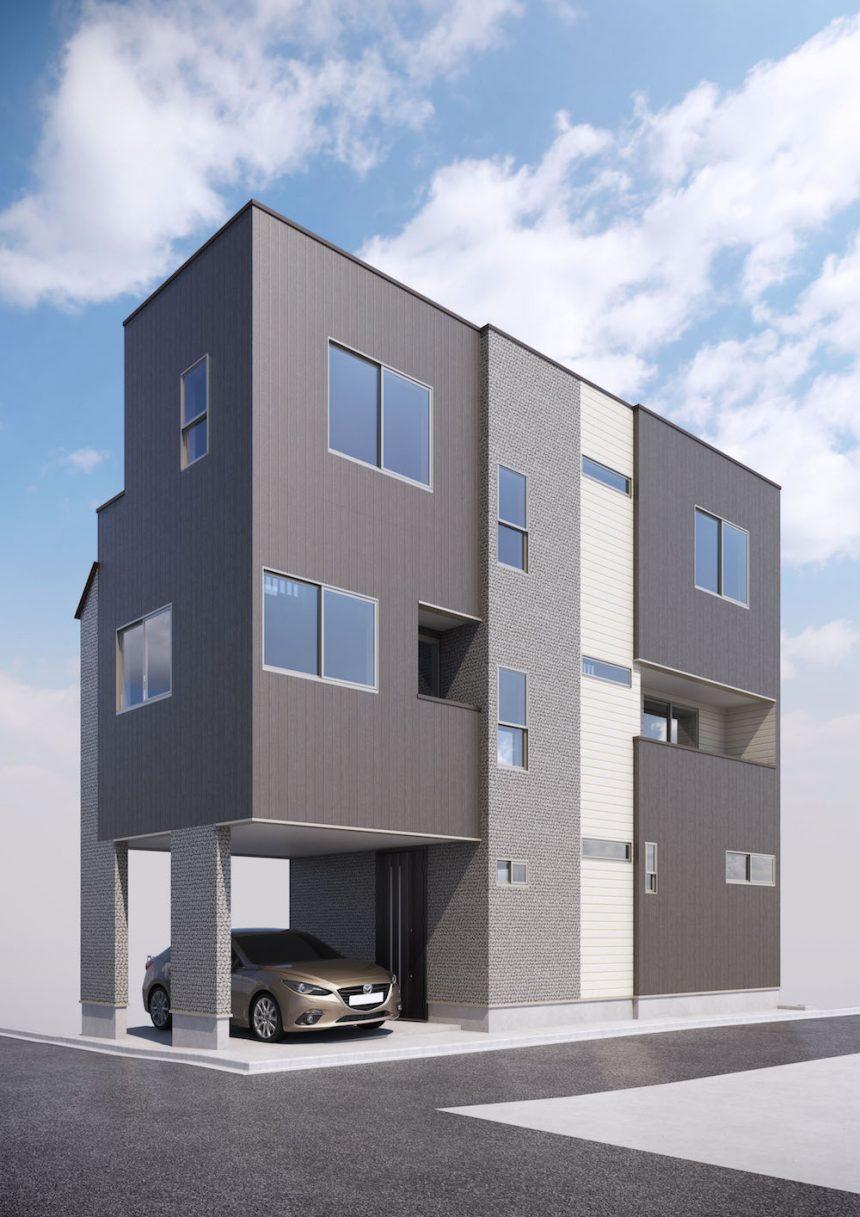 建築パース。世田谷区の戸建・外観。