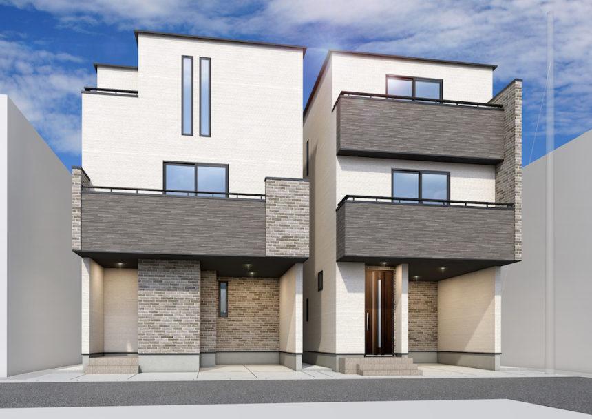 建築パース。市川市の戸建・外観。
