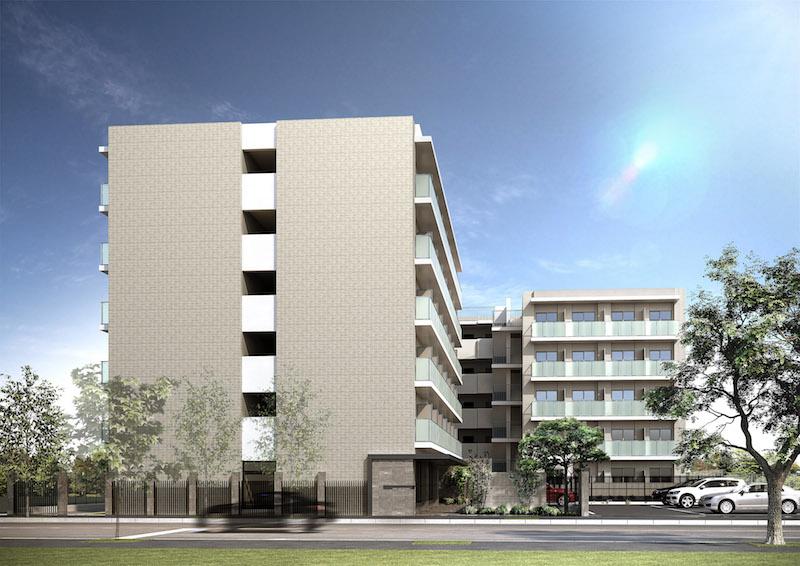 建築オーダーパース。川崎市のマンション・外観。