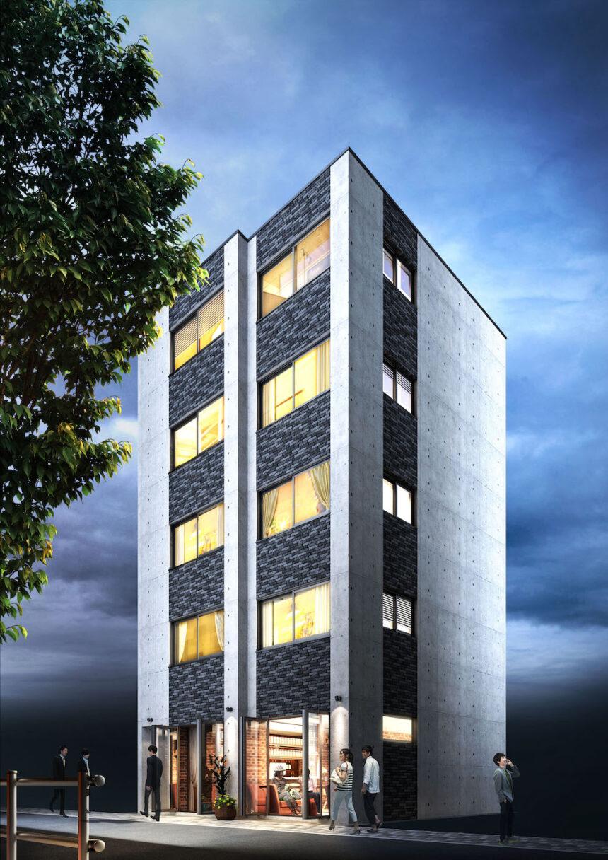 建築オーダーパース。港区のマンション・外観。