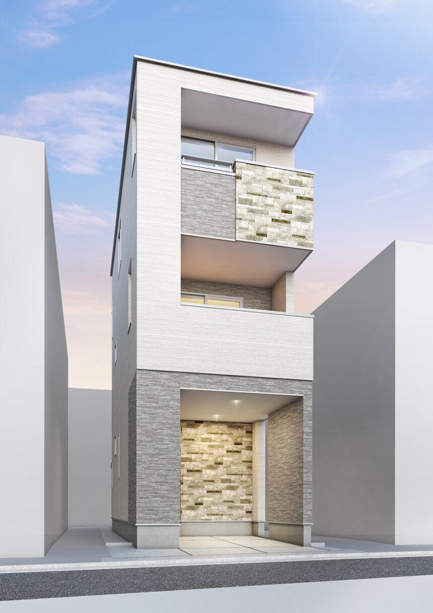 建築パース。墨田区の戸建・外観。