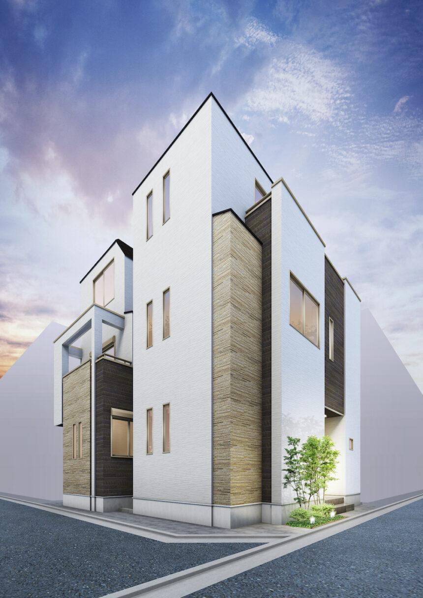 建築パース。新宿区の戸建・外観。