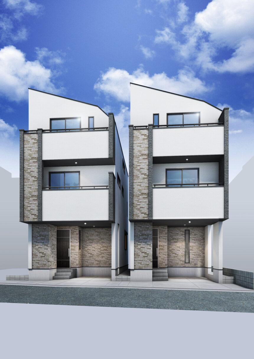 建築パース。座間市の戸建・外観。
