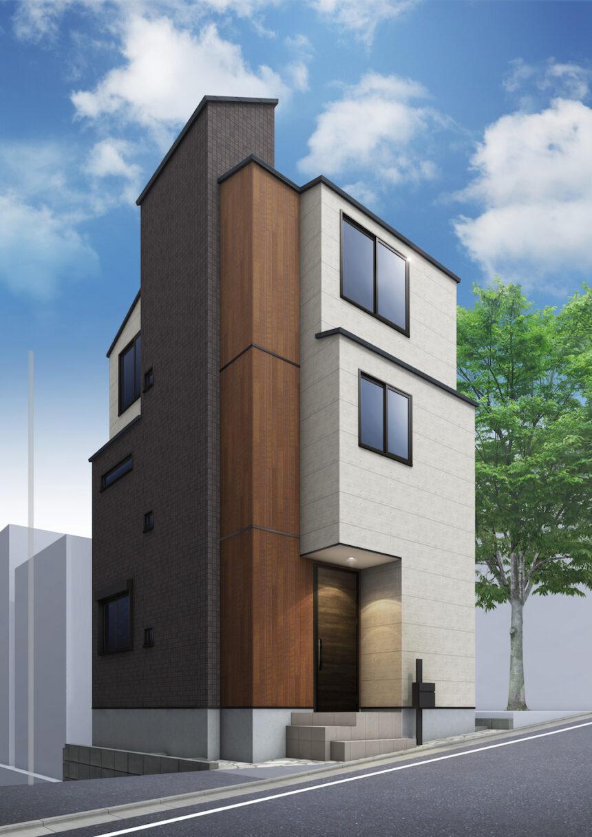 建築パース。品川区の戸建・外観。