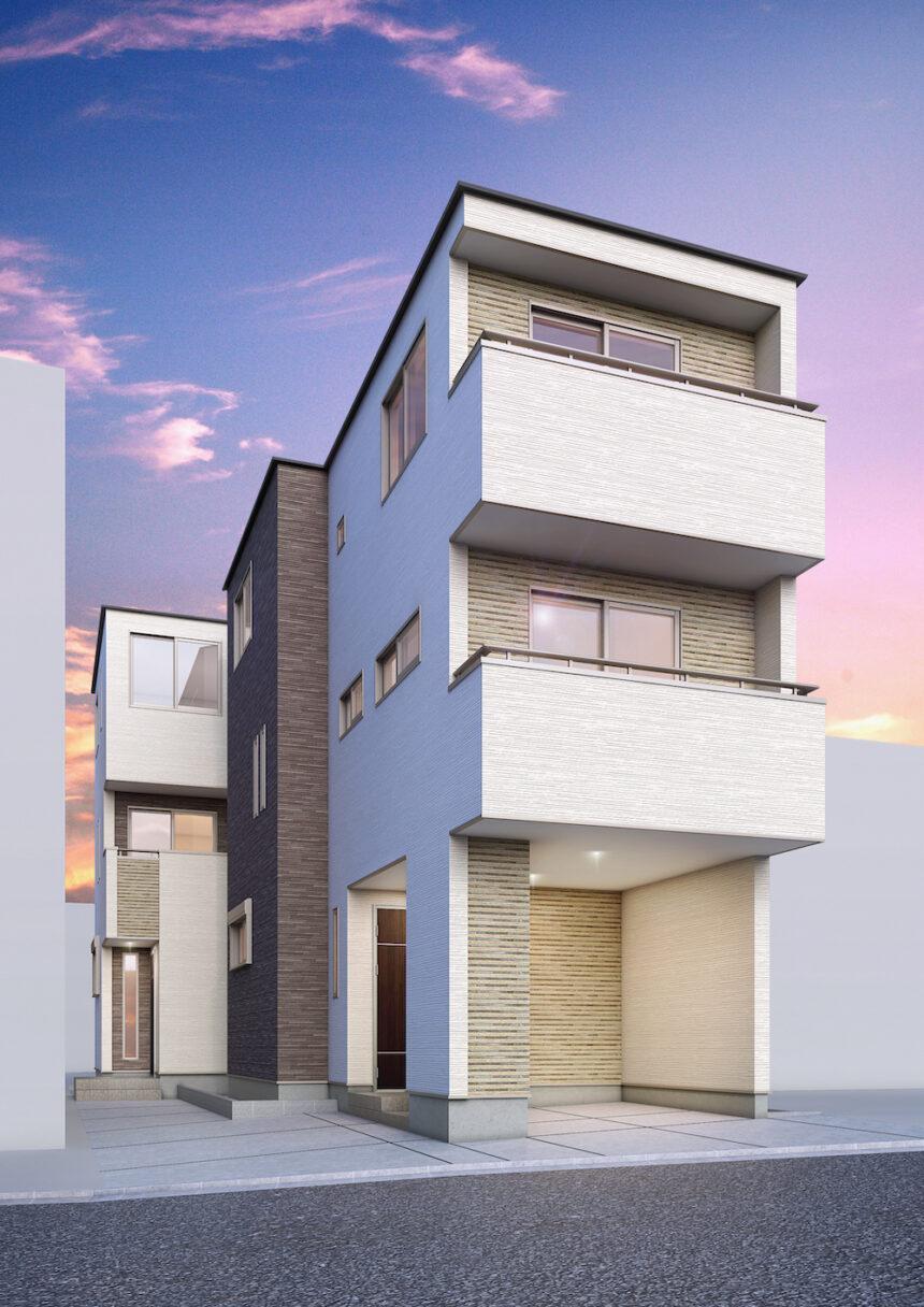 建築パース。和光市の戸建・外観。