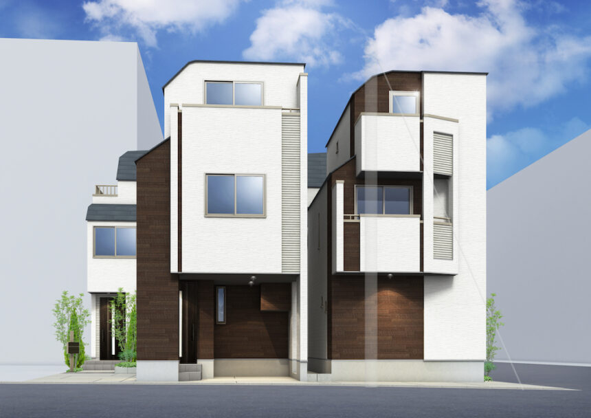 建築パース。葛飾区の戸建・外観。
