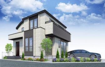 建築パース。西多摩郡の戸建・外観。