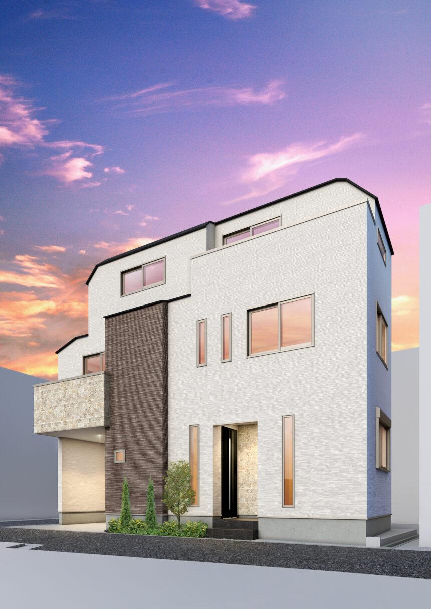 建築パース。北区の戸建・外観。