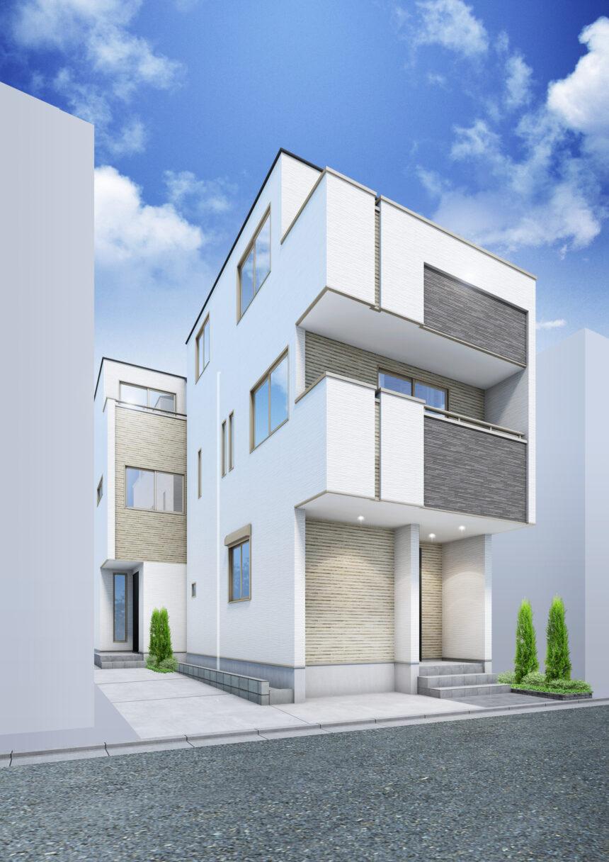建築パース。川崎市の戸建・外観。