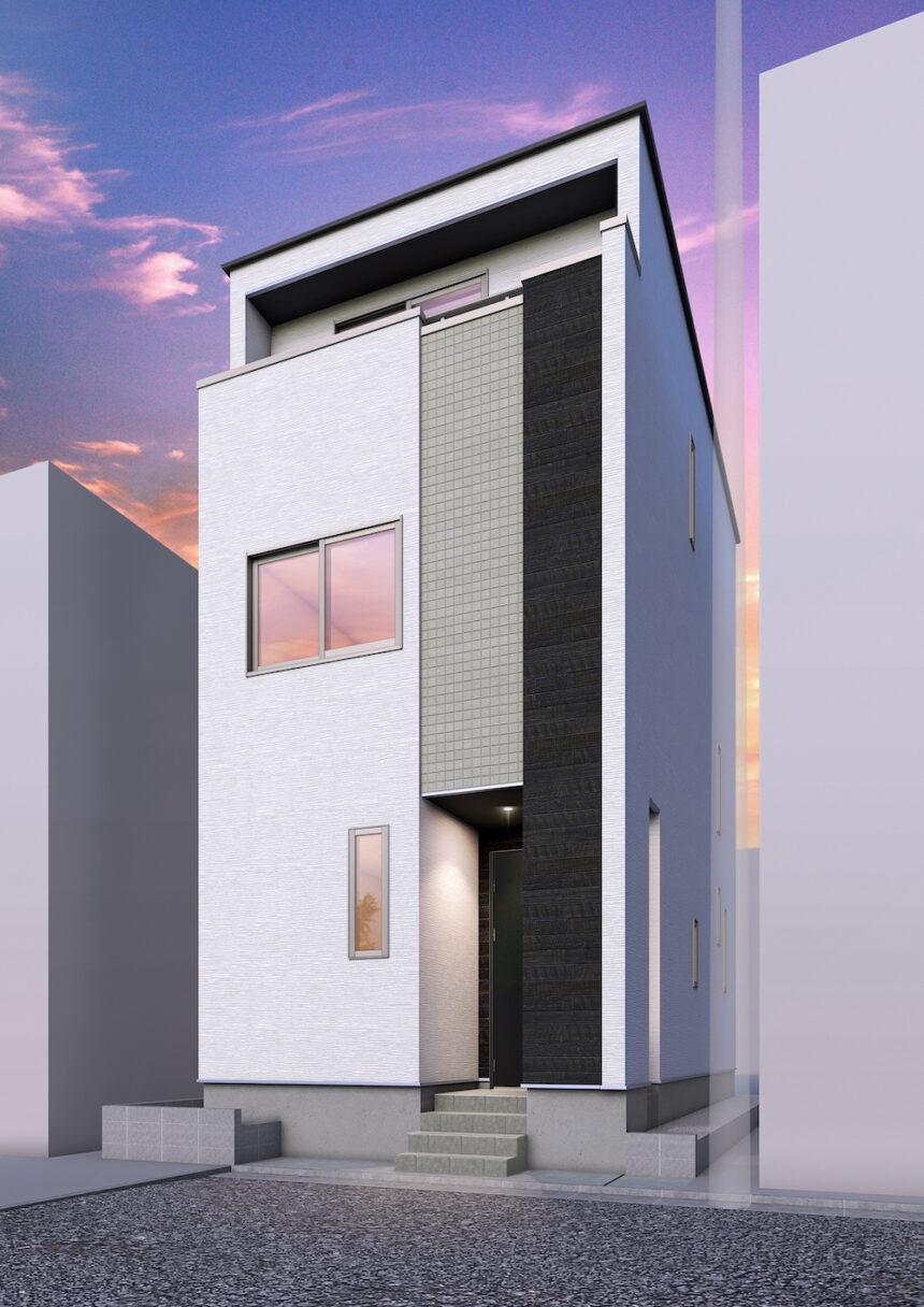 建築パース。中央区の戸建・外観。